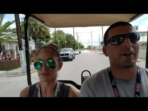 Riding a golf cart around key west