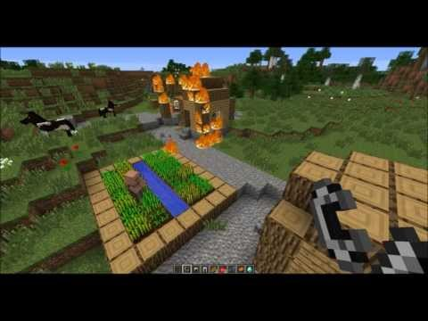 Flaming Village Minecraft 1.7 Seed! Diamond Horse Armor, Saddle, and Horses at Spawn