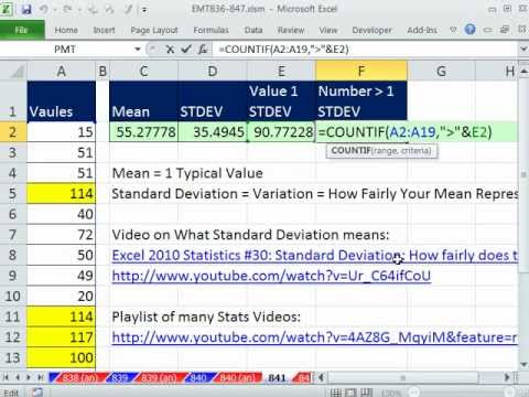 Excel Magic Trick 841: One Standard Deviation Above Mean, Count & Conditional Format Values