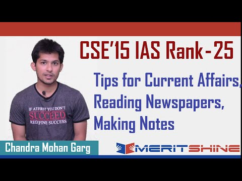 UPSC 2015 Rank-25 C M Garg - How to prepare for IAS - Current Affairs and reading Newspapers