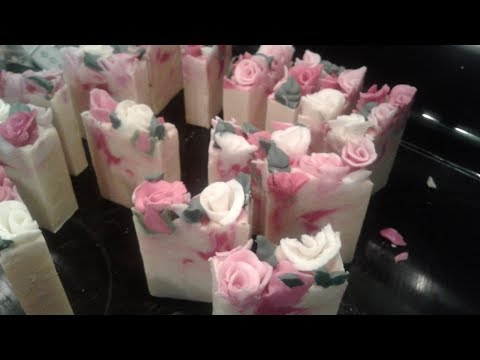 Making Black Cherry Merlot Roses CP Soap for a Bridal Shower favors / soap dough rose embeds