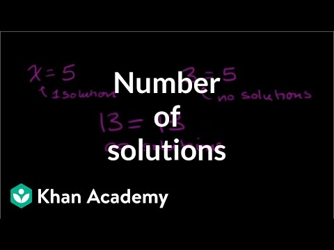 Number of solutions to linear equations | Linear equations | Algebra I | Khan Academy