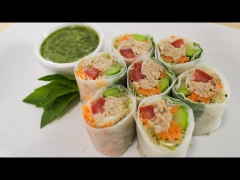 Fresh Tuna Spring Roll Recipe ก๋วยเตี๋ยวลุยสวน - Hot Thai Kitchen