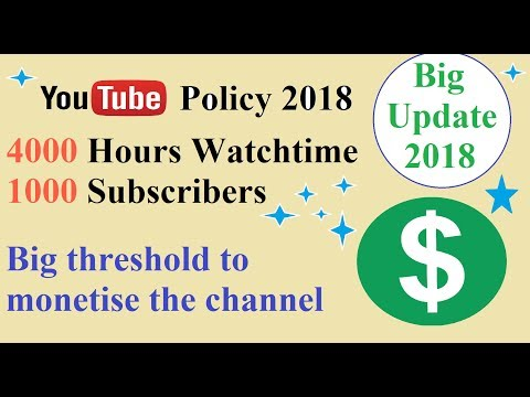 YouTube New Rules for Monetisation 2018 |  4000 Hours Watchtime and 1000 Subscribers | Big Update