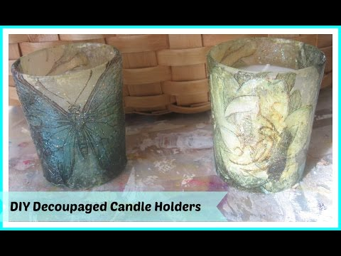 How To Make Decoupage Votive Candles/ Candle Holders with paper napkins