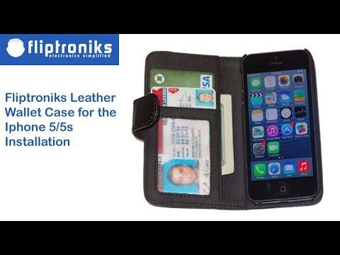 Fliptroniks Black Leather Wallet Flip Case Cover for Apple Iphone 5/5s Installation