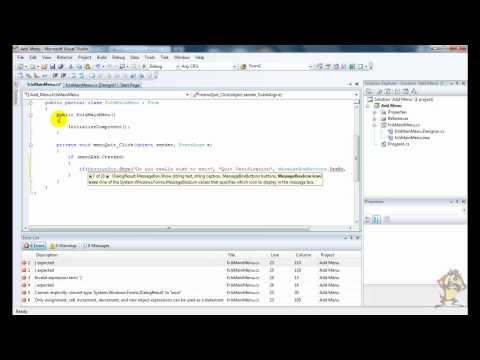 Visual Studio 2008: C# Tutorial: Add/Change Main Menu HD