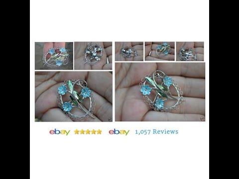 VINTAGE BEAU STERLING Silver Blue Enamel Flower Brooch Pin