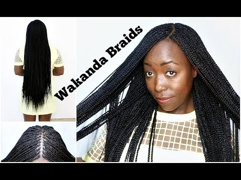 How To Braid Your Own Hair With Side & Middle Part Step By Step Tutorial Natural Hair Wakanda Braids