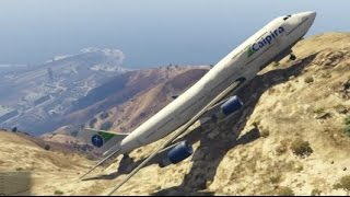 GTA 5- Unbelievable Air Plane Landing at top of Mountain (GTA 5 Funny Moments)