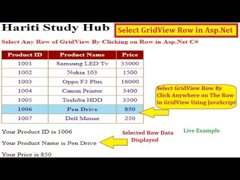 Select Row in GridView Control By Just Clicking on The Row in Asp.Net C# | Hindi | Online Learning
