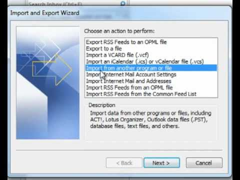 Import PST To Outlook 2010