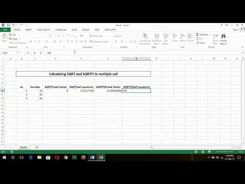 How to calculate square root and square root pi in excel