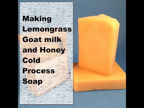 Making Lemongrass Essential Oil Tallow Cold Process Soap with goat milk and honey