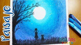 Cómo Dibujar Paisaje A La Luz De Luna Con Pastel Seco How To Draw