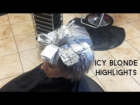 ICY BLONDE HIGHLIGHTS || Short Hair