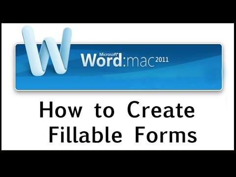 How to Create Fillable Forms on Word 2011 for MAC