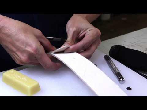 Skiving leather & setting hardware