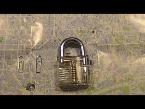 How to unlock a padlock with 2 paperclips