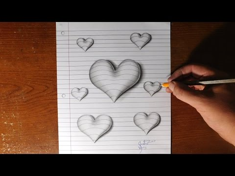 How to Draw 3D Hearts - Line Paper Trick Art