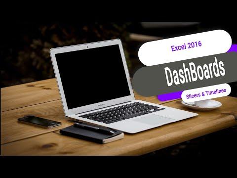 Excel 2016 DashBoards - Slicers, Timelines, PivotCharts, KPI's, and filters.Excel 2016 2013 tutorial