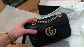 30589fd13130 GUCCI GG Marmont matelassé leather belt bag unboxing try on haul ...
