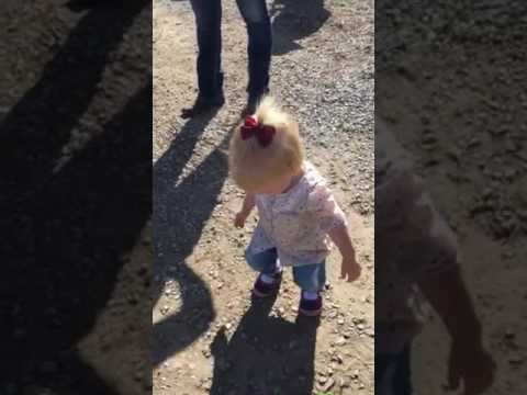 Blue Eyes and E dancing to the band at the pumpkin patch