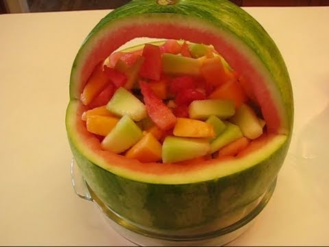 Betty's Watermelon Basket with Melon Salad (Basket Carved by Rick)