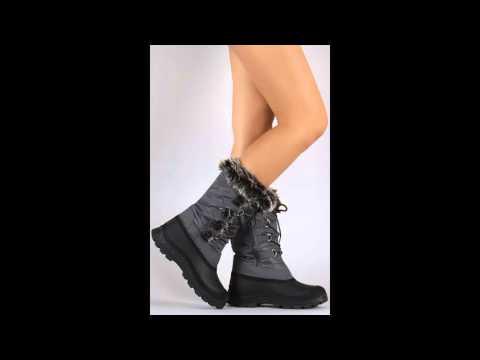 Faux fur Cuff Lace Up Mid Cuff Snow Boots