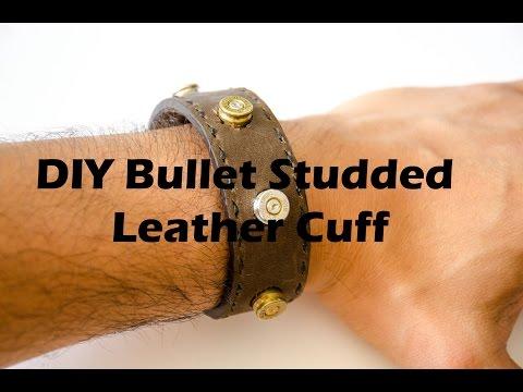 DIY Bullet Bracelet-Bullet Studded Leather Cuff ~ Bullet Leather Bracelet #leatherproject