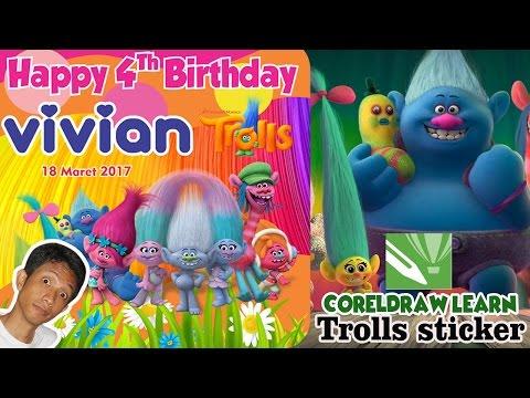 TROLLS (Animation, 2016) - Birthday Sticker Design