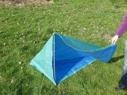 Emergency shelter, fully enclosed tent with floor in less then 2 min, from square tarp