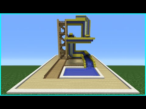 Minecraft Tutorial: How To Make A Bendy Water Slide (Mini Water Park)