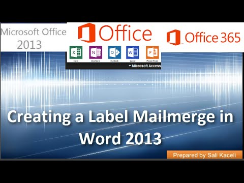 Mail Merge Labels in Word 2007, 2010,  2013, 2016 - The Easy Method