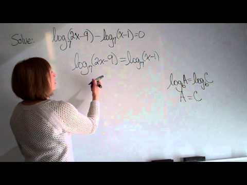 Solving logarithmic equations example 2