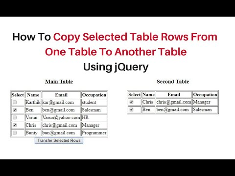 selected table rows transfer into another table on click jquery-3.3.1