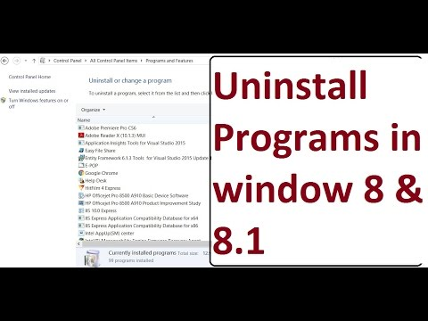 How to uninstall programs or softwares in window 8 or 8.1