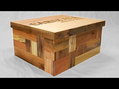 Secret Compartment Shoebox with Patchwork Pallet Wood