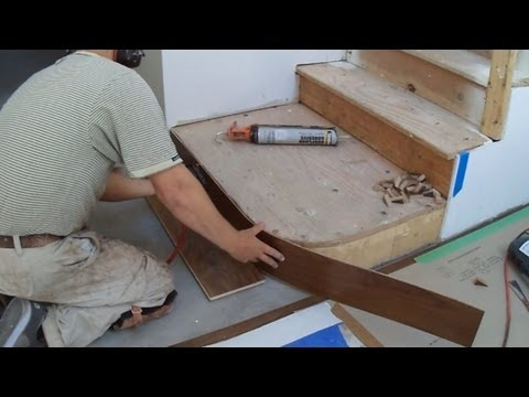 How to Install Hardwood Stairs: Curved Stairs Riser Installation - Mryoucandoityourself