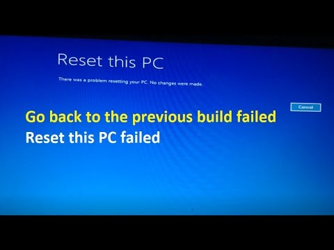 Reset this PC - There was a problem resetting your PC. No changes were made