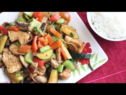 Stir-fry Chicken with Mushroom and Vegetables (Ga Xao Nam Bi va Ot)