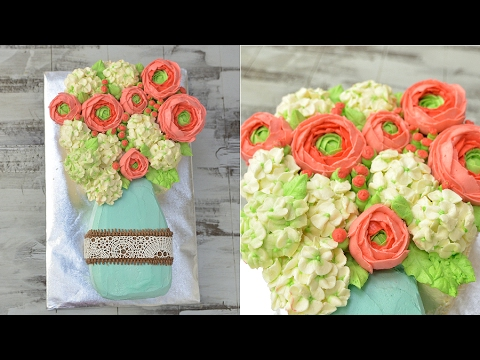 HYDRANGEA AND RANUCULUS BUTTERCREAM MASON JAR FLOWER CAKE, HANIELA'S