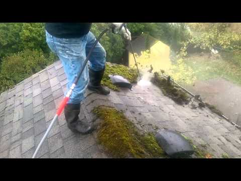 Pressure washing moss off roof