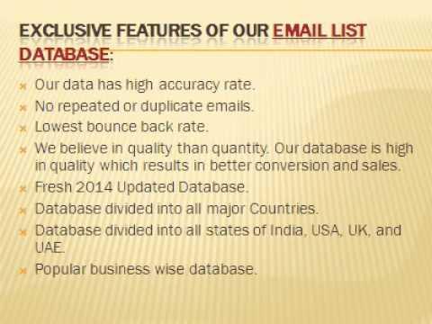 Indian Email Id Database, USA Email Database, UK Database, UAE Email Database