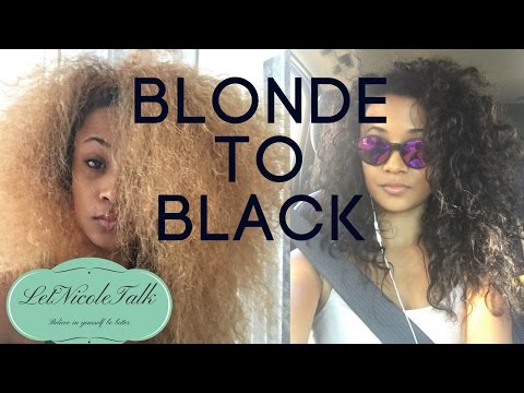 Dying bleached blonde hair to black | Natural curly hair