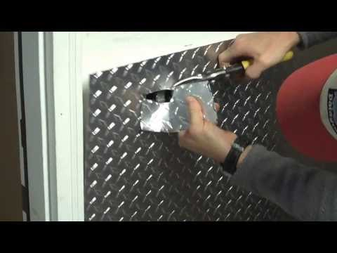 Part 1 - Installing aluminum diamond plate wall panels in garage, how to cut around an outlet.