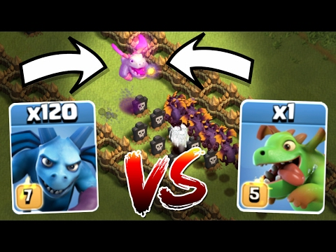 1 BABY DRAGON CRUSHES 120 MINIONS!!! ULTIMATE TROOP SHOW DOWN IN CLASH OF CLANS!!