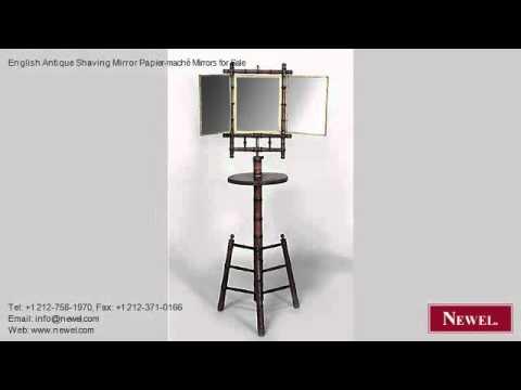 English Antique Shaving Mirror Papier-maché Mirrors for