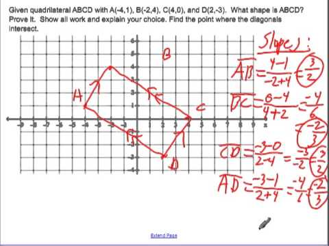 Determine a quadrilateral with coordinate geometry