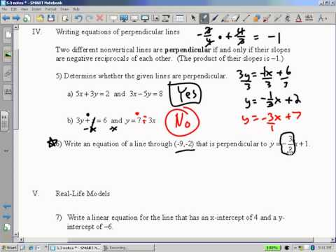 Algebra I Lesson5-3 Writing Linear Equations With Two Points